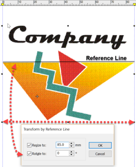 The transform toolbar reflects and rotates images but the clever feature is to rotate and resize using a reference line.