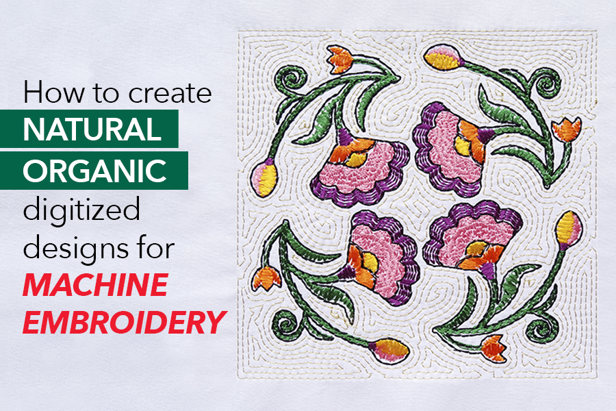 Natural organic stitch effects for machine embroidery