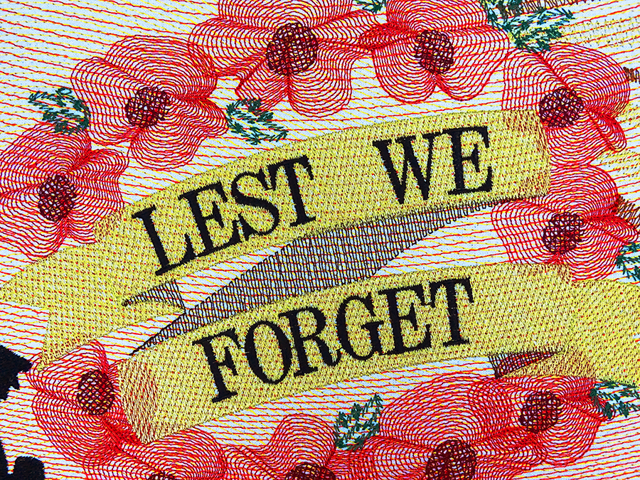 Lest We Forget design - demonstration of embroidery digitizing in Wilcom EmbroideryStudio