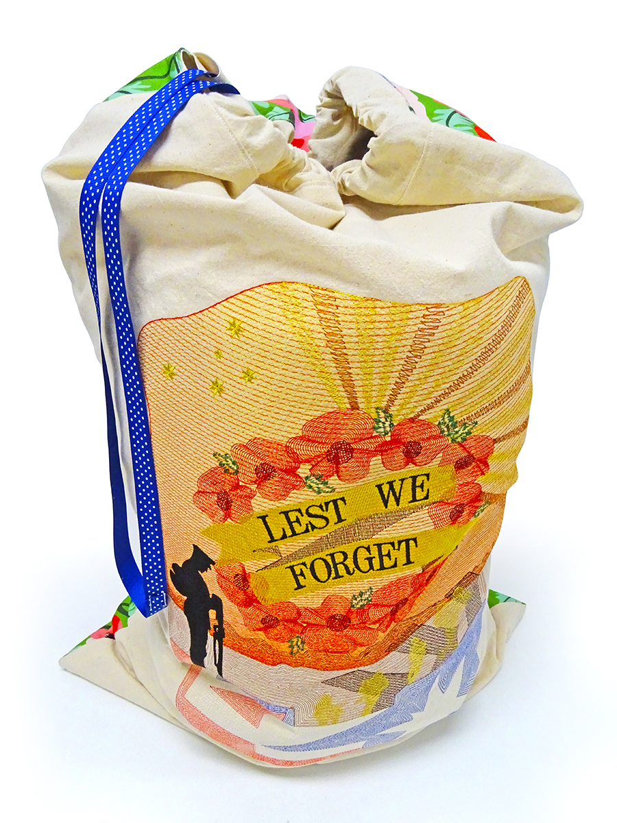 Laundry Bag design - demonstration of embroidery digitizing in Wilcom EmbroideryStudio