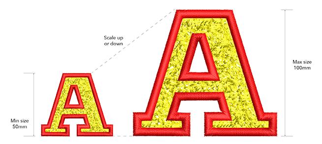 YALE Faux Chenille Font Size requirements